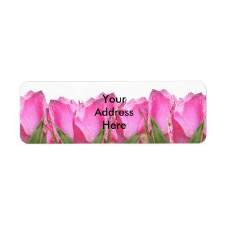 All Pink Rose Bud Return Address Label