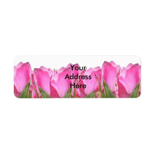 All Pink Rose Bud Return Address Label