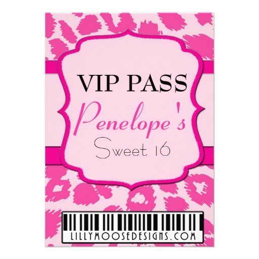 ALL PINK VIP Pass Sweet 16 Invitation