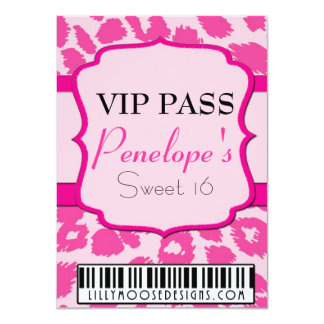 ALL PINK VIP Pass Sweet 16 Invitation