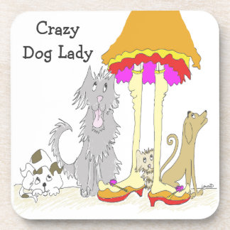 All Proceeds to Animal Charity Crazy Dog Lady Drink Coaster