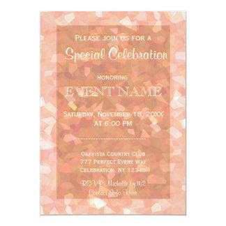 All Purpose | Peach Glitter 13 Cm X 18 Cm Invitation Card