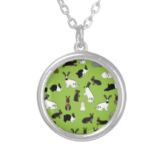 All rabbits silver plated necklace
