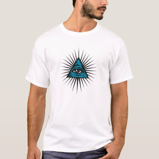All Seeing Eye Illuminati Freemason Pyramid blue T-Shirt