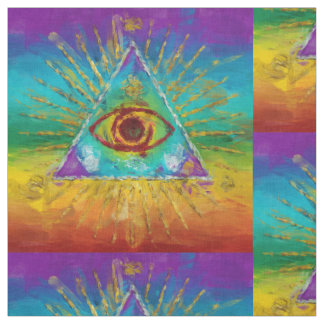 All Seeing Eye Of God - abstract sketchy Art Fabric
