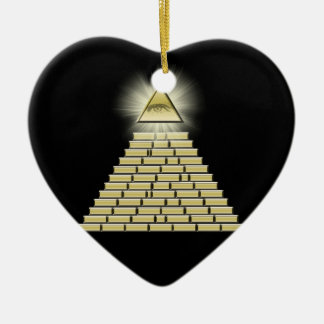 All Seeing Eye Pyramid 2 Ceramic Heart Decoration