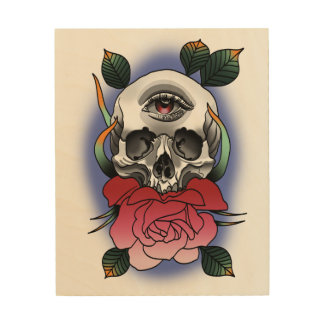 All Seeing Eye Skull and Rose Tattoo Style Wood Wall Art