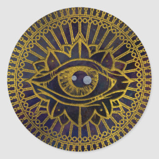 All Seeing Mystic Eye Gold on Nebula Sky Classic Round Sticker