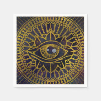 All Seeing Mystic Eye Gold on Nebula Sky Disposable Serviette