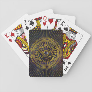 All Seeing Mystic Eye Gold on Nebula Sky Playing Cards