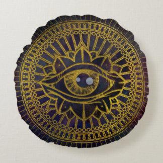 All Seeing Mystic Eye Gold on Nebula Sky Round Cushion