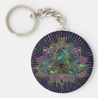 All Seeing Mystic Eye in Lotus Flower Key Ring