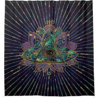 All Seeing Mystic Eye in Lotus Flower Shower Curtain