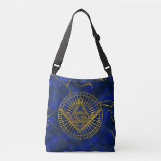 All Seeing Mystic Eye in Masonic Compass on Lapis Crossbody Bag