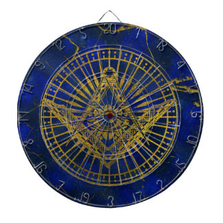 All Seeing Mystic Eye in Masonic Compass on Lapis Dartboard