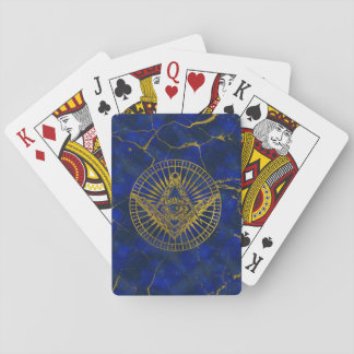 All Seeing Mystic Eye in Masonic Compass on Lapis Playing Cards