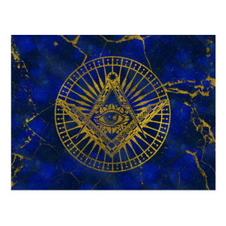 All Seeing Mystic Eye in Masonic Compass on Lapis Postcard