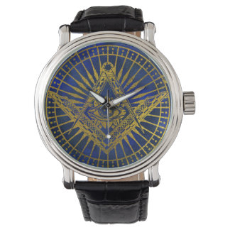 All Seeing Mystic Eye in Masonic Compass on Lapis Watch