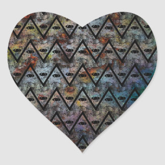 All Seeing Pattern Heart Sticker