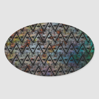 All Seeing Pattern Oval Sticker