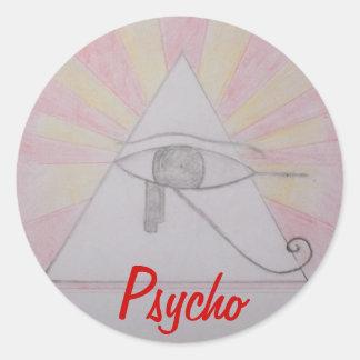 All seeing Psycho Round Sticker