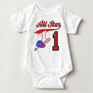 All Star Baseball 1st Birthday Tee Shirt