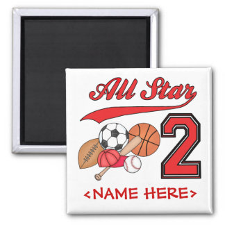 All Star Sports 2nd Birthday Square Magnet