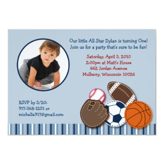 All Star Sports Ball Photo Birthday Invitations