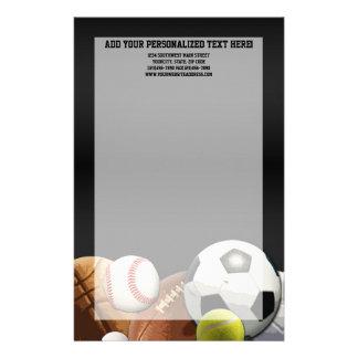 All Star Sports Balls w/ Brick Wall Stationery Design