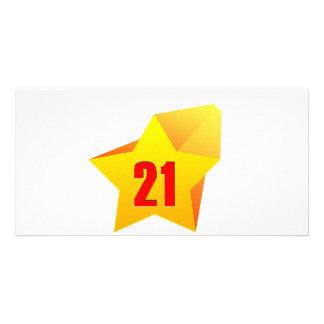 All Star Twenty One years old! Birthday Customized Photo Card