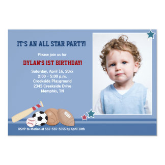 All Stars Sports *PHOTO* Birthday 5x7 Personalized Announcement