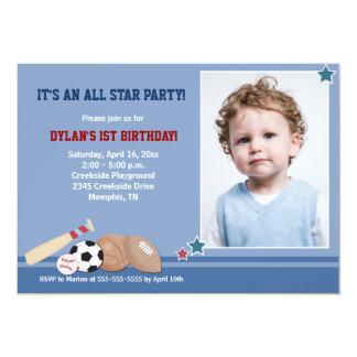 All Stars Sports *PHOTO* Birthday 5x7 5x7 Paper Invitation Card
