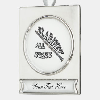 """""""All STATE"""", Clarinet, Necklace, jewelry, girl, mu Silver Plated Banner Ornament"""