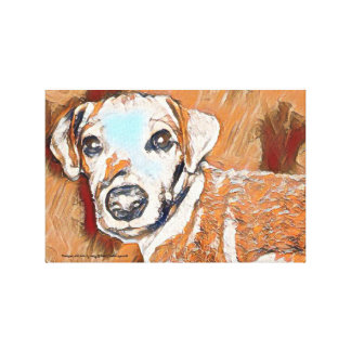 All tan Jack Russell terrier painting Canvas Print