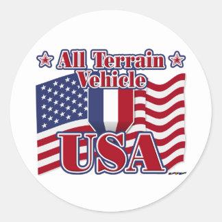 All Terrain Vehicle USA Round Sticker