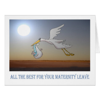 all the best for Maternity leave, stork and baby Card