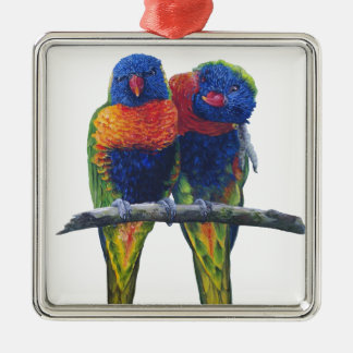 All the colors of the Rainbow Lorikeets Silver-Colored Square Decoration