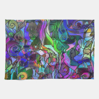 All the Colors with Swirls and Lines Tea Towel