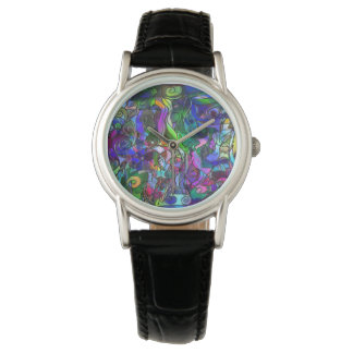 All the Colors with Swirls and Lines Wrist Watch