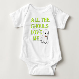 All The Ghouls Love Me Ghost Green Baby Outfit Baby Bodysuit