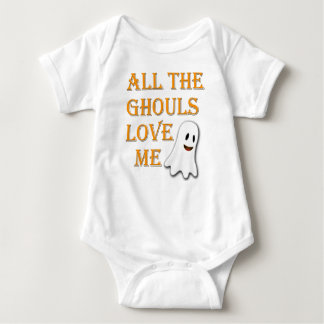 All The Ghouls Love Me Ghost Orange Baby Outfit Baby Bodysuit