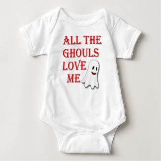 All The Ghouls Love Me Ghost Red Baby Outfit Baby Bodysuit