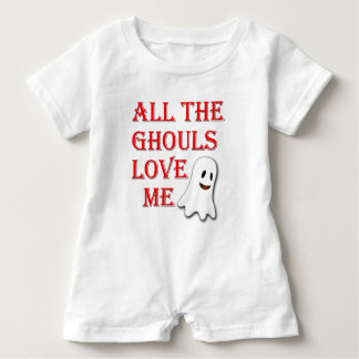 All The Ghouls Love Me Ghost Red Baby Romper Baby Bodysuit