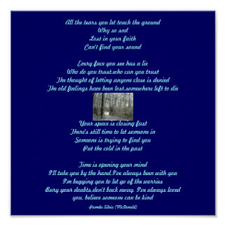 All the tears you let touch the Poem Lyrics Post Poster