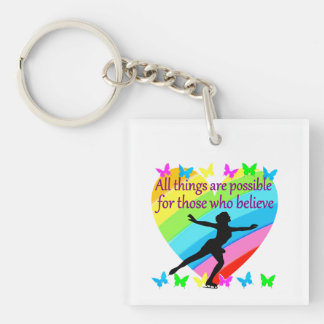 ALL THINGS ARE POSSIBLE FOR THIS SKATER Double-Sided SQUARE ACRYLIC KEY RING
