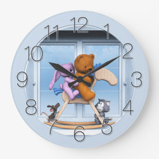 All together on the rocking horse large clock