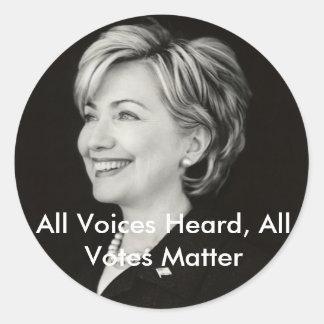 All Voices Heard, All Votes... Round Sticker