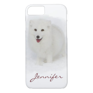 All White Arctic Fox Watercolor Painting iPhone 7 Case