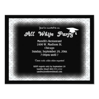 All White Attire Theme Graduation Party Invitation