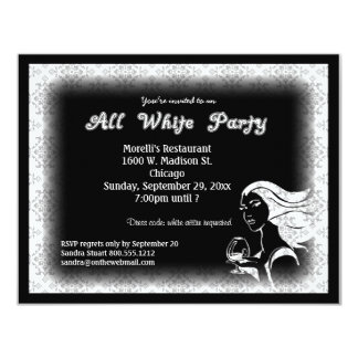 All White Attire Theme Party Invitation